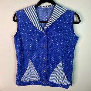 Vintage Cotton White and Blue Sailor Top